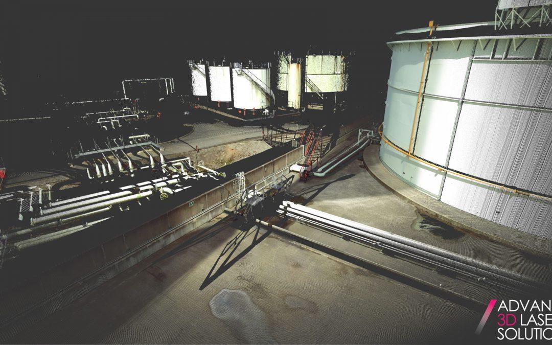 Laser scan data of bulk storage tank site Bund