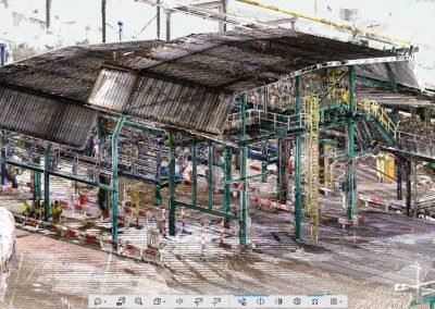 Laser scan data of bulk storage tank site rail loading
