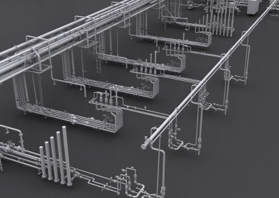 Auto desk Plant 3d model of road loading bays on a tank terminal