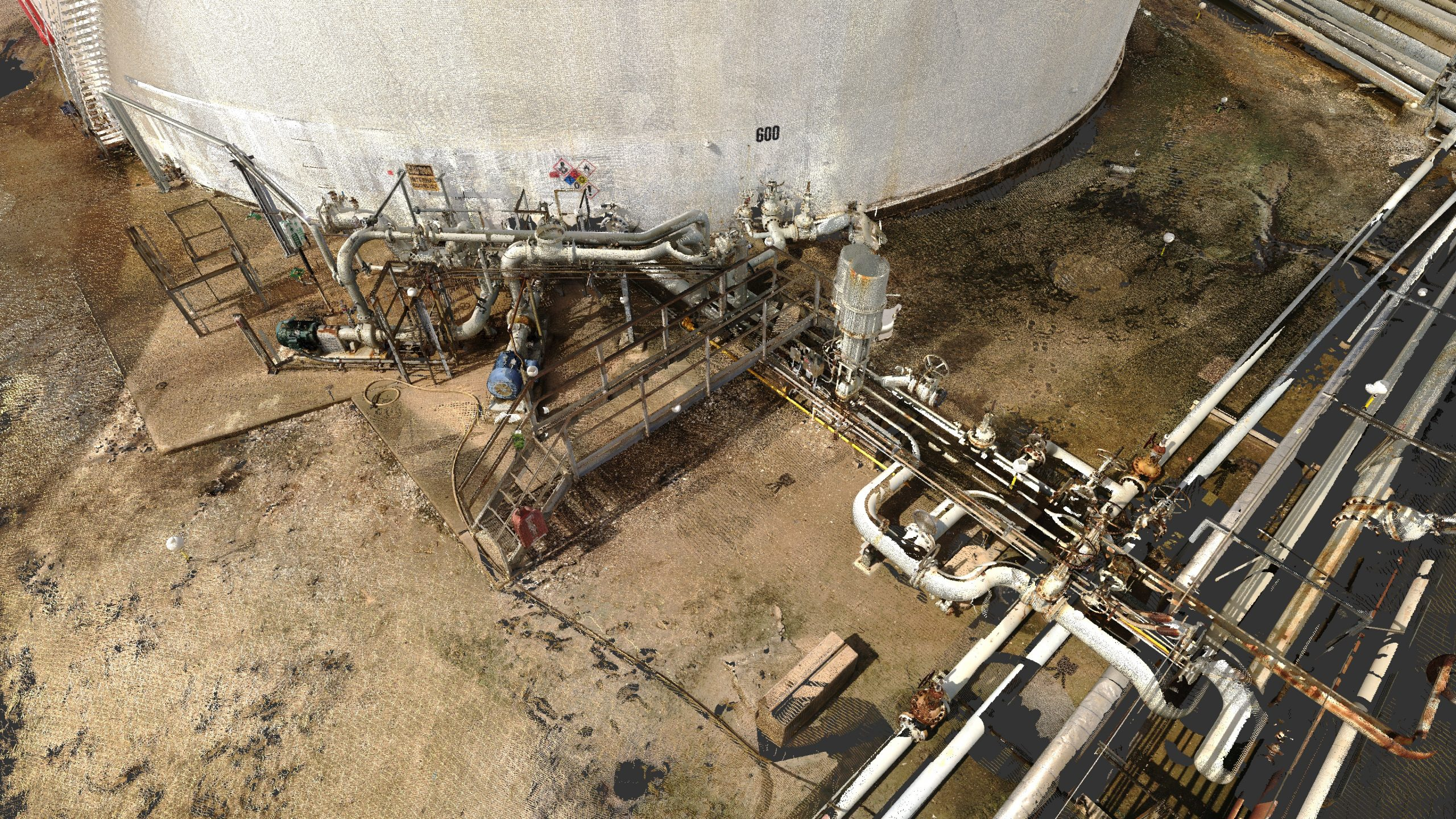Point cloud data of Oil Storage Tank and Pipework